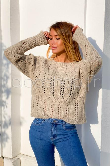 Pull Femme Ajouré Taupe