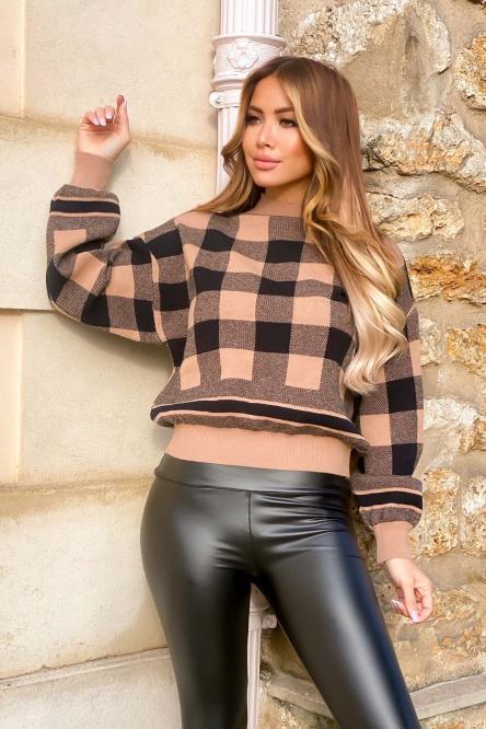 Pull Femme Carreaux Camel / Réf : 5050-8