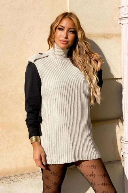 Pull Femme Col Montant Beige