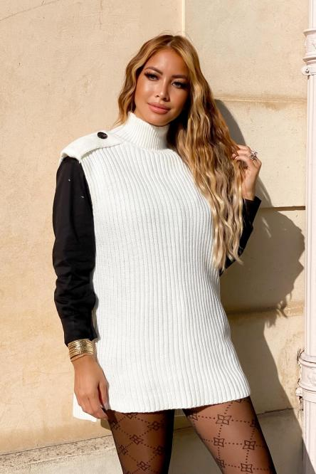 Pull Femme Col Montant Blanc