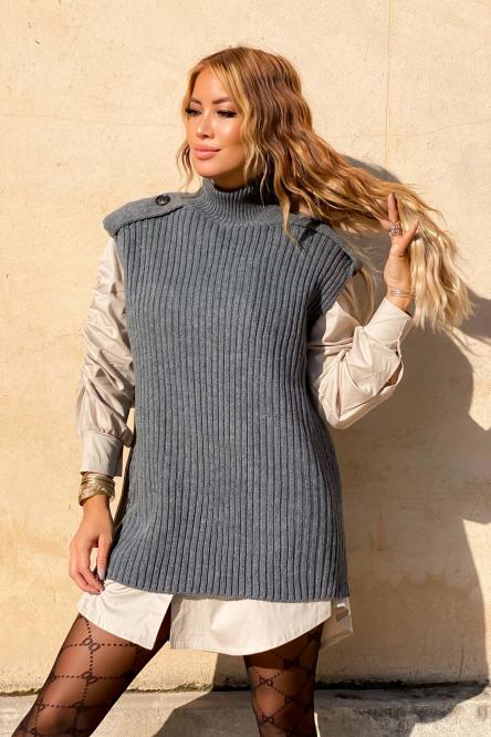 Pull Femme Col Montant Gris