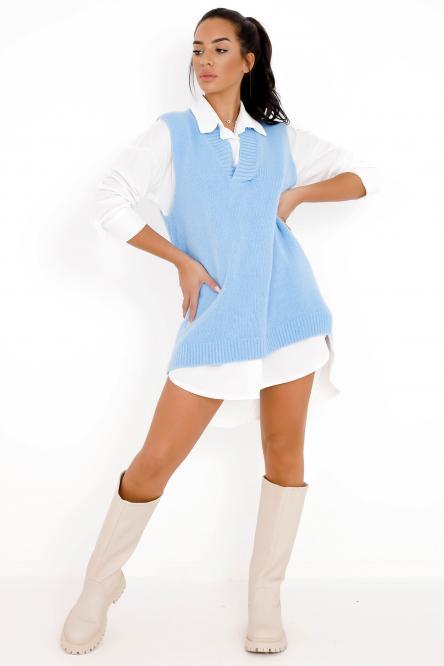 Pull Femme Col V Sans Manche Bleu / Réf : 1234