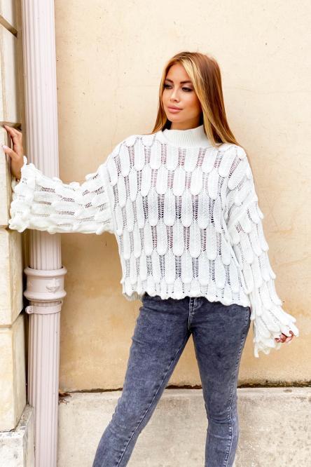 Pull Femme Ecailles Blanc / Réf : 6143