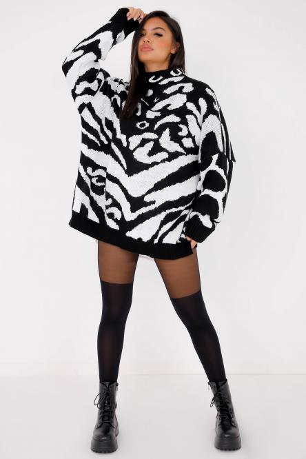 Pull Femme Imprimé Bicolore Noir / Réf : 7556