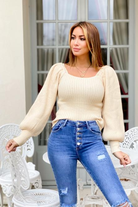 Pull Femme Manches Bouffantes Beige