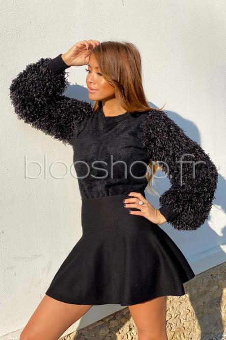 Pull Femme Manches Plumes Noir