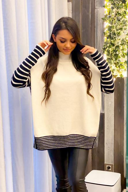 Pull Femme Rayures Blanc