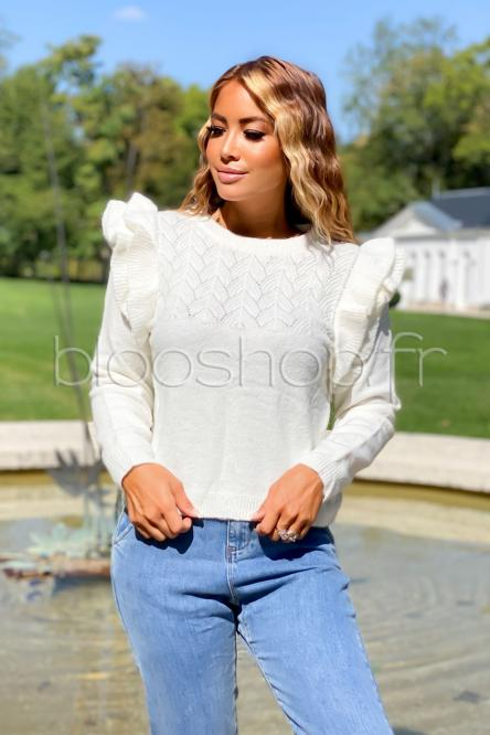 Pull Froufrou Femme Maille Blanc