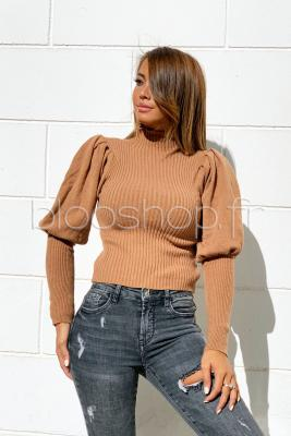 Pull Manches Bouffantes Femme Taupe