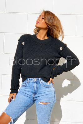 Pull Manches Boutons Femme Noir