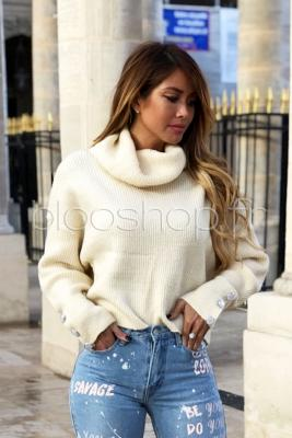 Pull Manches Perles Femme Beige