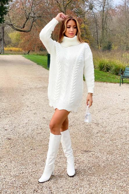 Pull Robe Femme Torsades Col Roulé Blanc / Réf : 8089