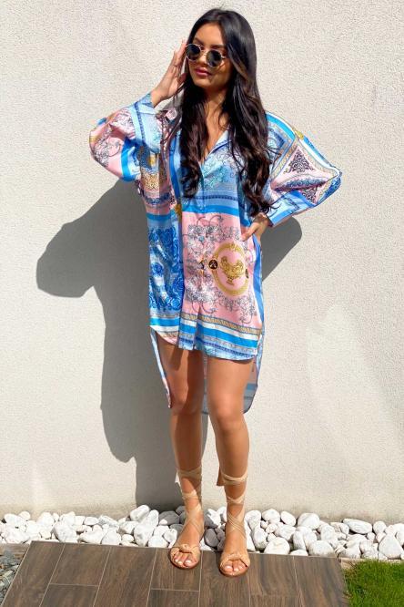 Robe Chemise Femme Cachemire Bleu / Réf : 6259-6