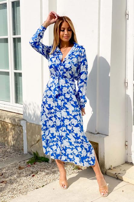 Robe Chemise Femme Fleurie Bleu / Réf : 2200-6