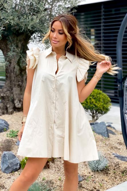 Robe Chemise Femme Oversize Beige / Réf : 5223-2