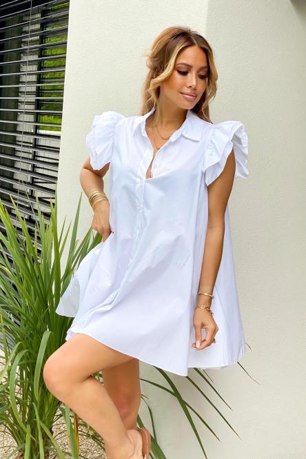 Robe Chemise Femme Oversize Blanc / Réf : 5223-1