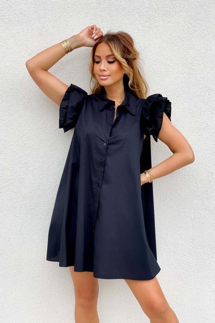 Robe Chemise Femme Oversize Noir / Réf : 5223-0