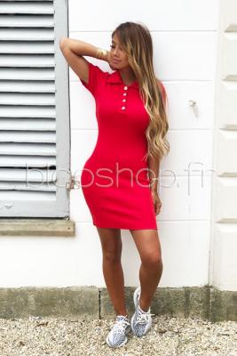 Robe Col Boutonné Femme Rouge