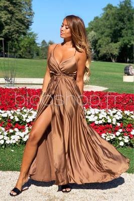 Robe Croisée Satin Femme Marron / Réf : 12899-11