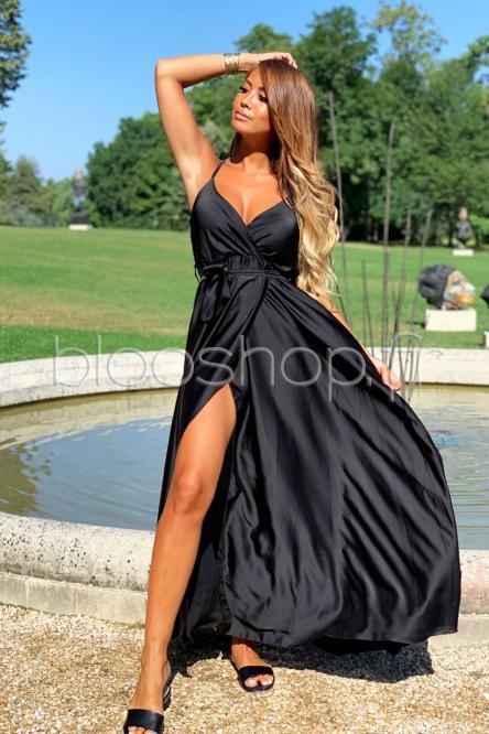 Robe Croisée Satin Femme Noir / Réf : 12899-0