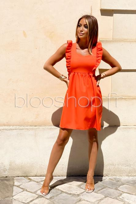 Robe Femme Ample à Volant Orange / Réf : 342