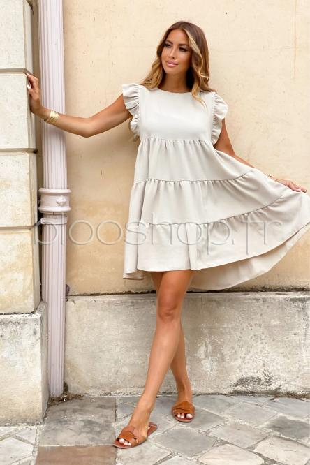 Robe Femme Ample Col Rond Beige