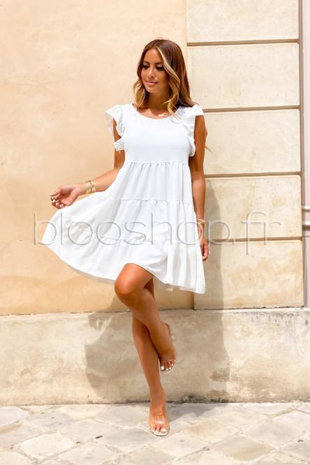 Robe Femme Ample Col Rond Blanc / Réf : 968