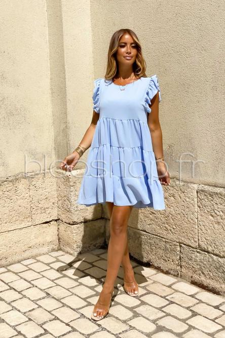 Robe Femme Ample Col Rond Bleu