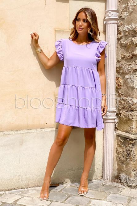 Robe Femme Ample Col Rond Violet / Réf : 968