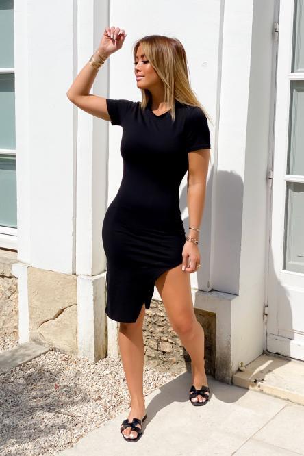 Robe Femme Asymétrique Noir / Réf : 7388-0