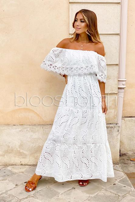 Robe Femme Bardot Broderie Anglaise Blanc