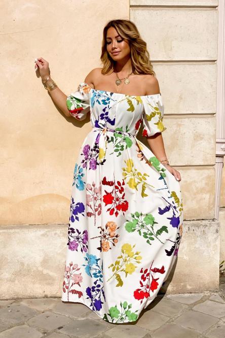 Robe Femme Bardot Fleurie Blanc / Réf : 1508-1