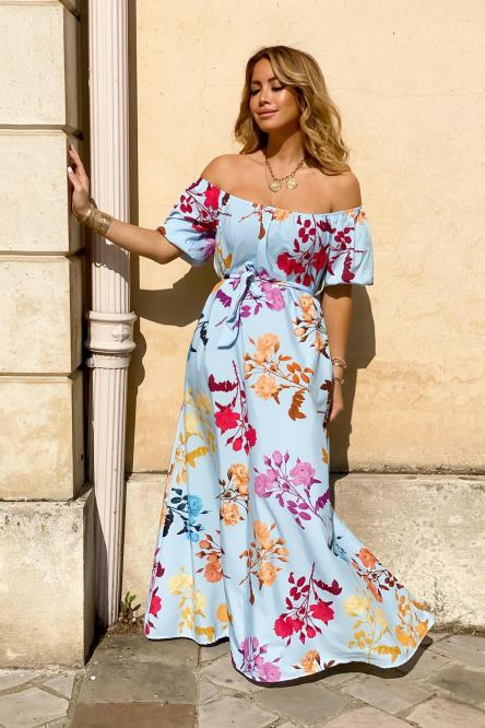 Robe Femme Bardot Fleurie Bleu / Réf : 1508-6