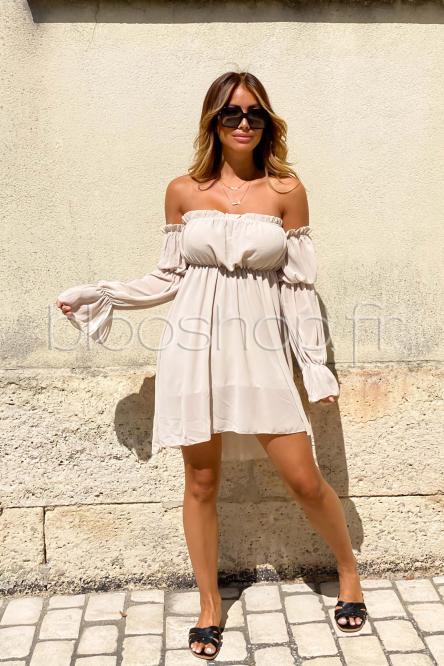 Robe Femme Bardot Manches Longues Beige / Réf : 713
