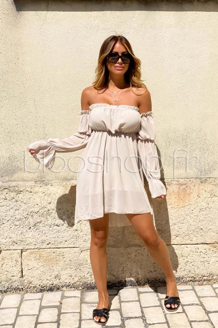 Robe Femme Bardot Manches Longues Beige