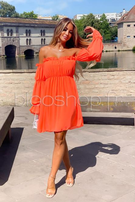 Robe Femme Bardot Manches Longues Orange / Réf : 713