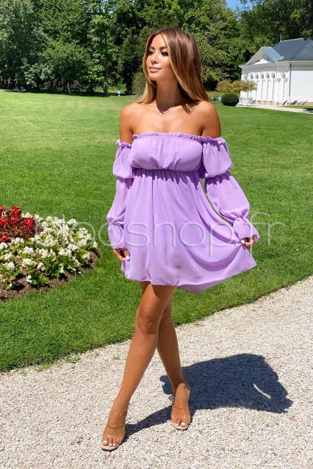 Robe Femme Bardot Manches Longues Violet