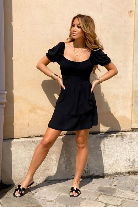 Robe Femme Bardot Nouée Noir / Réf : 8079-0