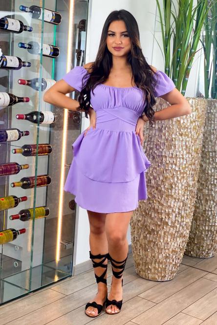 Robe Femme Bardot Nouée Violet / Réf : 8079-19