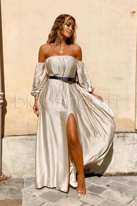 Robe Femme Bardot Satinée Beige / Réf : 822