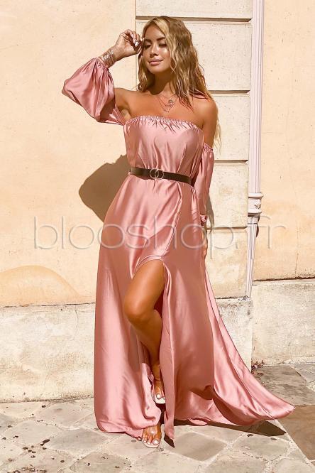Robe Femme Bardot Satinée Rose / Réf : 822