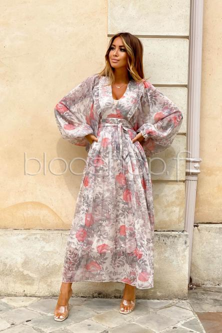 Robe Femme Bouffante Fleurie Taupe