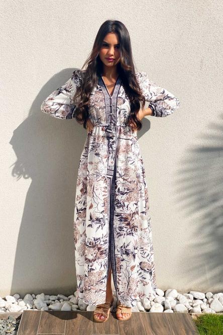 Robe Femme Boutonnée Imprimée Taupe / Réf : 9210-23