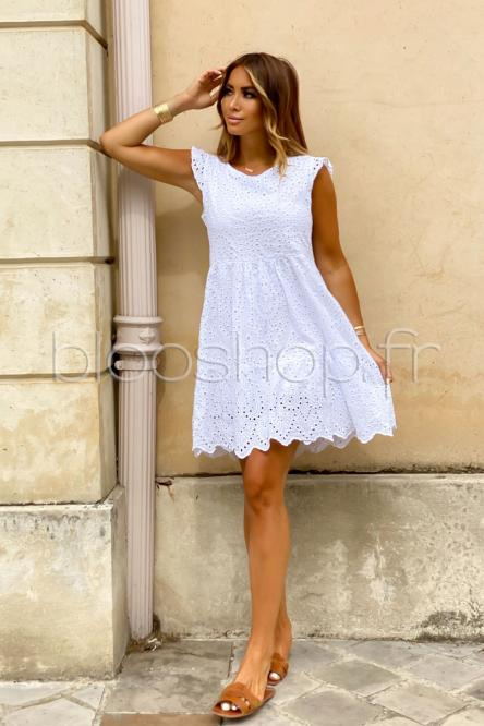 Robe Femme Broderie Anglaise Blanc