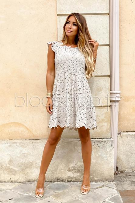 Robe Femme Broderie Anglaise Taupe