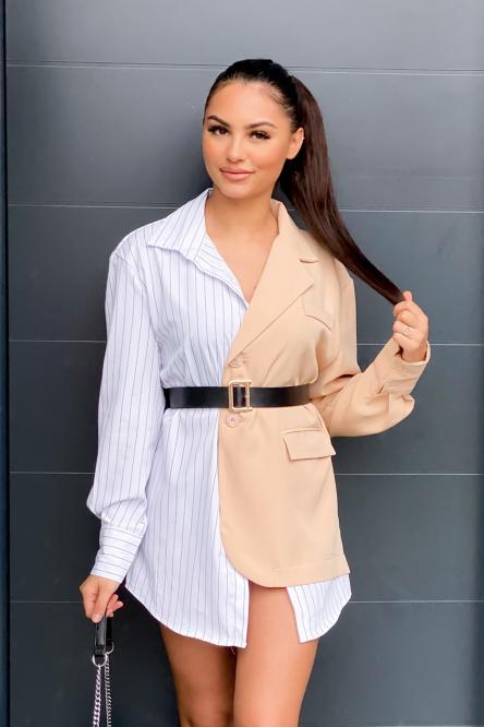 Robe Femme Chemise Bicolore Beige / Réf : 116-2