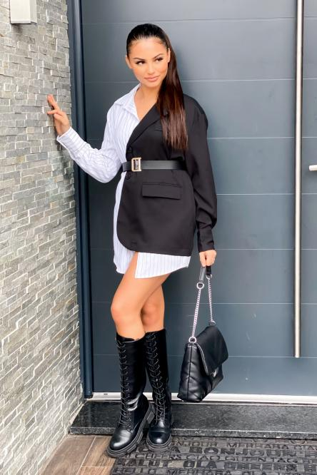 Robe Femme Chemise Bicolore Noir / Réf : 116-0