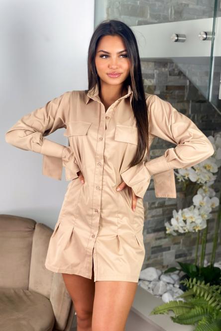 Robe Femme Chemise Cintrée Beige / Réf : 1202-2