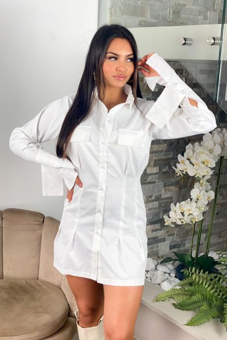 Robe Femme Chemise Cintrée Blanc / Réf : 1202-1