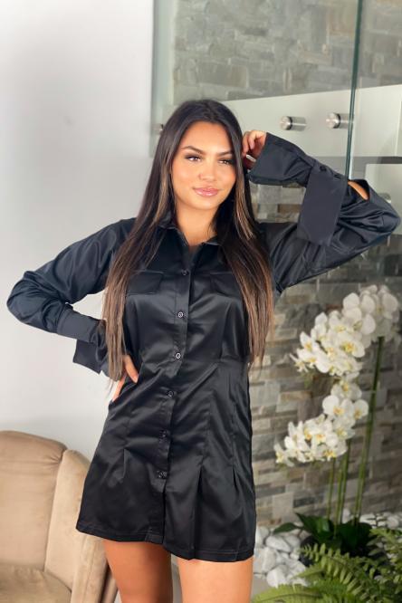 Robe Femme Chemise Cintrée Noir / Réf : 1202-0